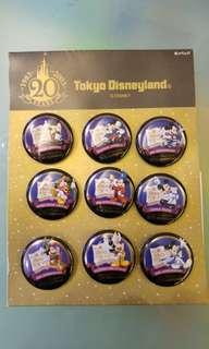 東京迪士尼20週年紀念襟章