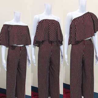 Off shoulder and square pants terno