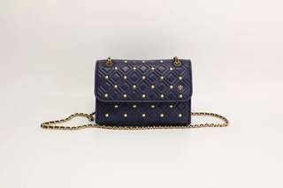 Tory Burch Fleming Small Convertible Shoulder Bag with Studs - Navy
