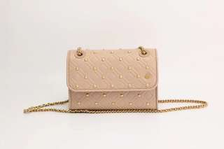 Tory Burch Fleming small convertible shoulder bag with studs - nude