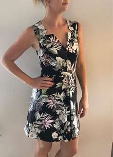 Black floral work dress