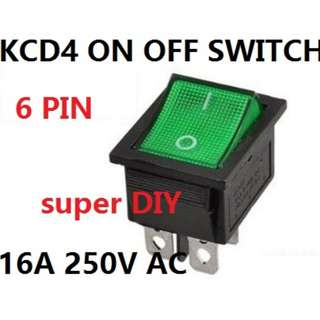 On Off 6 pin KCD4 Rocker Switch Green 16A/250V