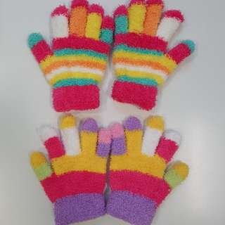 Kids rainbow Winter Gloves free size