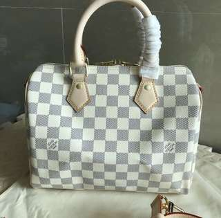 Louis Vuitton speedy bandouliere 25 in azur canvas leather