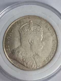 Straits Settlements KE VII One Dollar