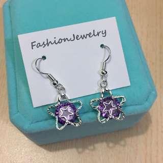 紫色蘇聯石星星耳環連禮盒