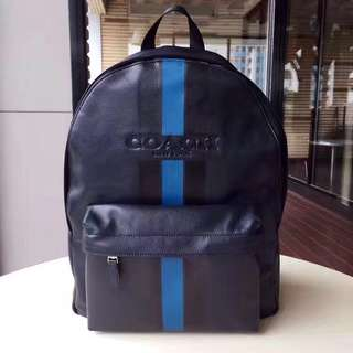 Coach Charles Backpack in varsity leather - midnight blue