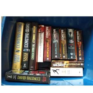 Crime investigation novels by David Baldacci and Michael Connelly