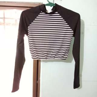 Rashguard Striped Cropped Turtle Neck