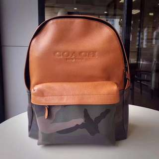Coach Charles Backpack in printed coated canvas - green camo