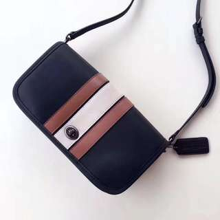 Coach stripe penny crossbody- black brown