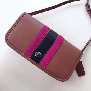 Coach stripe penny crossbody - brown pink