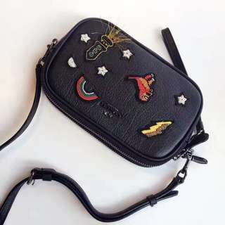 Coach Souvenir Embroidery crossbody clutch black grain leather