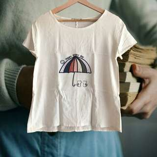 清涼夏日文藝棉麻刺繡小雨傘T恤