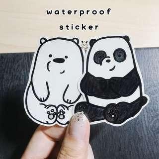 We bare bears hand drawn water proof sticker stickers waterproof handdrawn handmade