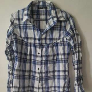 Long sleeve checkered blue