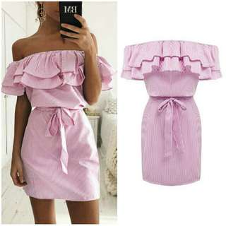 -Yunik- Off Shoulder Dress In Pink And White Stripes