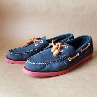 Sebago Docksides Shoes (Dark Blue & Orange)