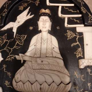 Vintage craft of Buddha on bone & wood