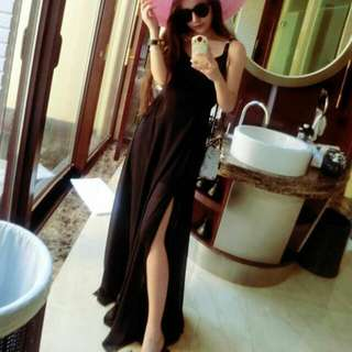 (PO) Korean Ulzzang Black Side Slit Maxi Prom Midi Dress