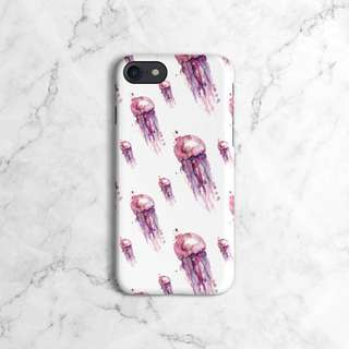 Pink Watercolor Jellyfish Pattern Phone Case