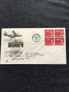 US 1962 8c Air Mail Blk4 FDC Stamp