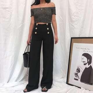 🚚 小編超推超顯瘦歐美時尚百搭雙排扣復古高腰