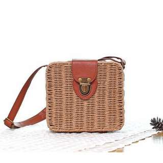 Square Rattan Bags - 3 Colors Available