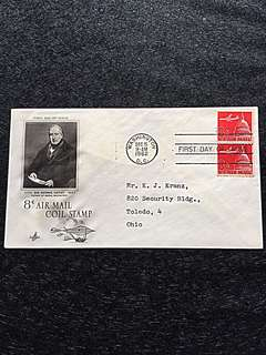 US 1962 8c Air Mail Coil Pair FDC Stamp
