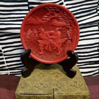 宽10cm原北京雕漆廠製人物剔红碟-件