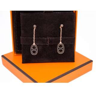 (NEW)Hermes H603001F0 LLIADE METAL EARRINGS GHW, BLACK 全新 耳環 黑色 金扣