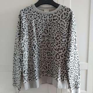 全新Saint Laurent Paris 豹點灰色衛衣Sweater SS16 Size M