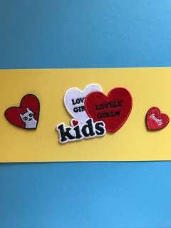 Love Kids 刺繡熨縫章一套 embroidery iron-on patch set