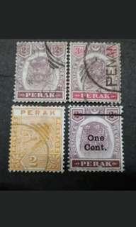 Malaya Perak 1891 1895 1900 Tiger Old Stamps 2c-3c & Overprint 1c (Fault) - 4v Used Malaya Stamps