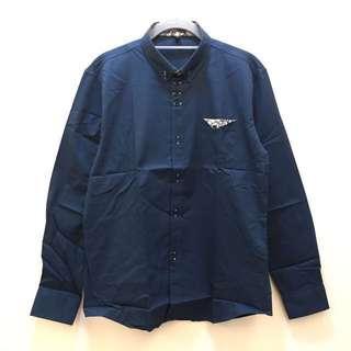 全新👦🏻復古圖騰長袖襯衫-藍