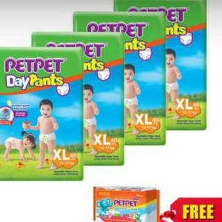 Petpet day pant Pampers (4packs +free gift)
