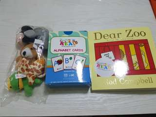 One set finger puppets, alphabet cards and story book