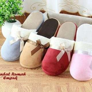 Sandal Rumah Empuk BROWN (Sandal super empuk, ada hiasan ribbon)