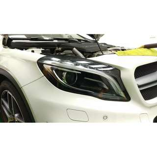 【騰信車體包膜】M-Benz GLA45大燈美國犀牛皮保護膜包膜