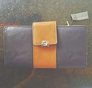 New Leather navy mustard travel wallet