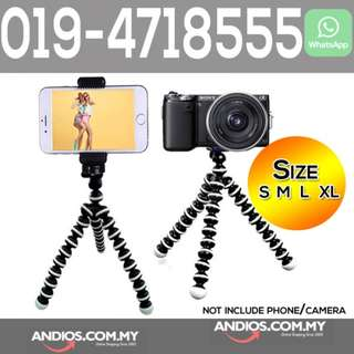 In-Stock✔Octopus Tripod Camera Stand +Phone Clip S M L XL