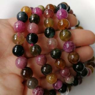 $58 Sales 8-9mm 碧玺 Natural Tourmaline Beaded Bracelet