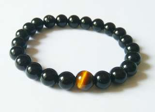 Offer $10 Unisex Onyx Tiger Eye Bracelet, Stretchable Black Bracelet