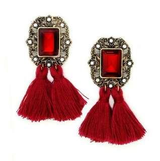 Girl accessories wool tassels earring drop earring crystal rhinestones
