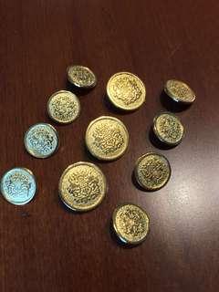 Seal Gold Metal Button Set for Blazer, Sport Coat or Suit Jacket