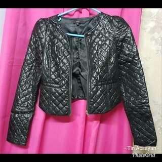 Bubble leather jacket