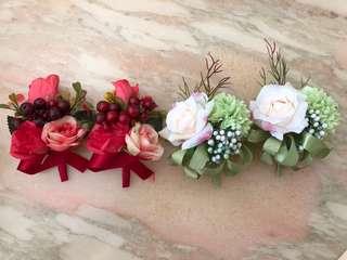 婚禮 紅色 襟花