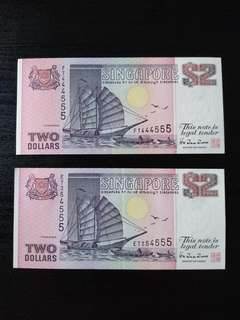 2 dollar Singapore note with Nice number