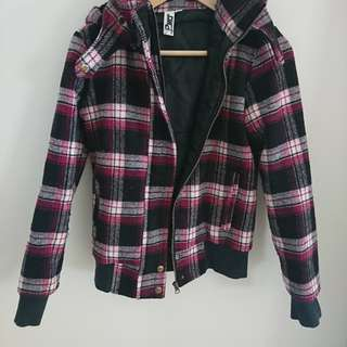 Pink checkered crop jacket