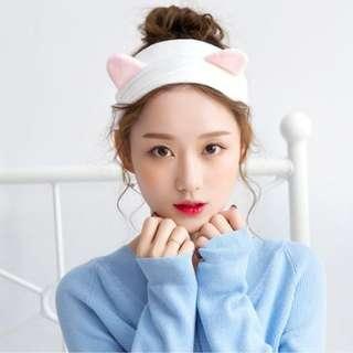 White Cute Cat Ears Soft Comfy Headband